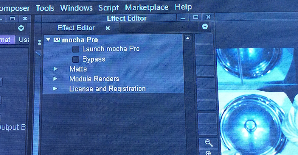 Open the Effects Editor and launch mocha Pro.