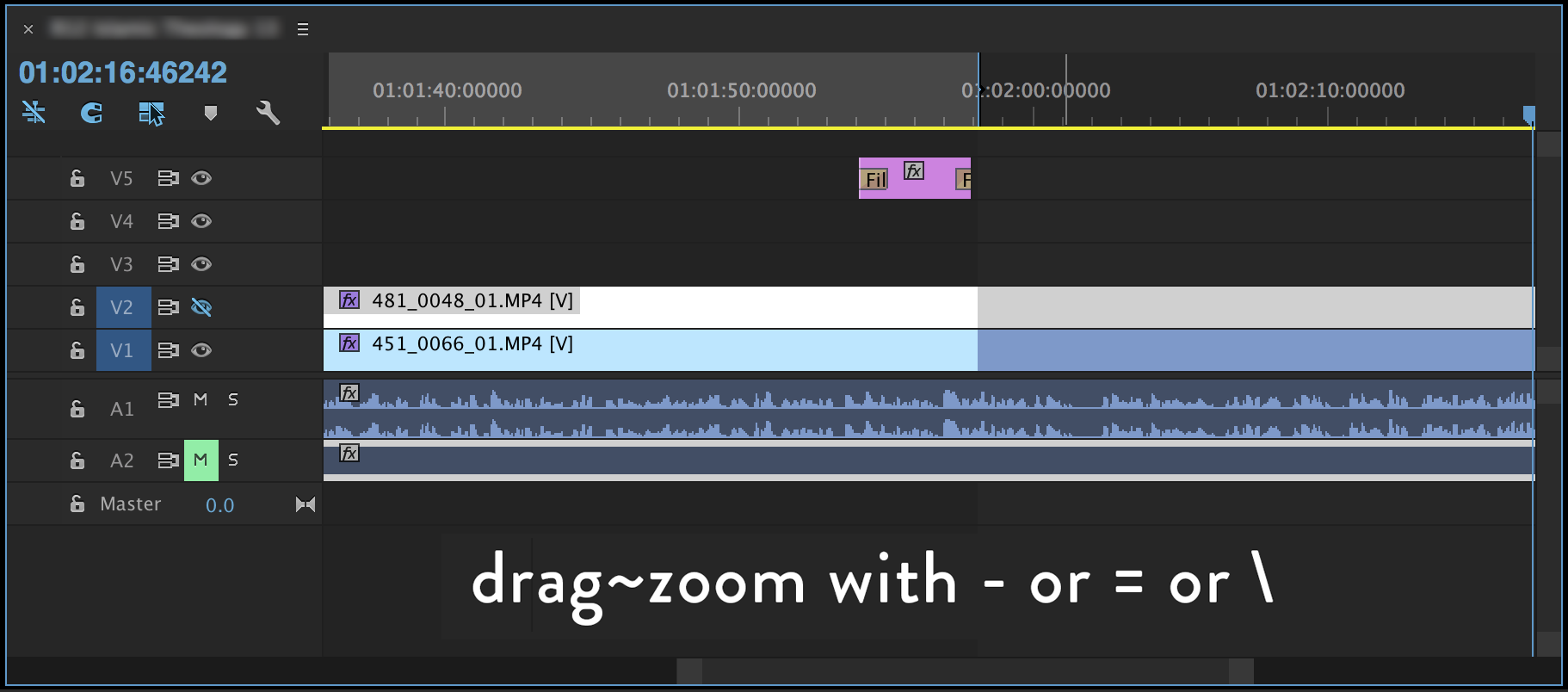 "32a9e1e46b Instead of enabling the target track and using cut and paste, you can zoom  in the timeline using the ""="" key, then grab and hold the footage, zooming  out ..."