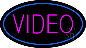 n100-1674-video-oval-blue-neon-sign