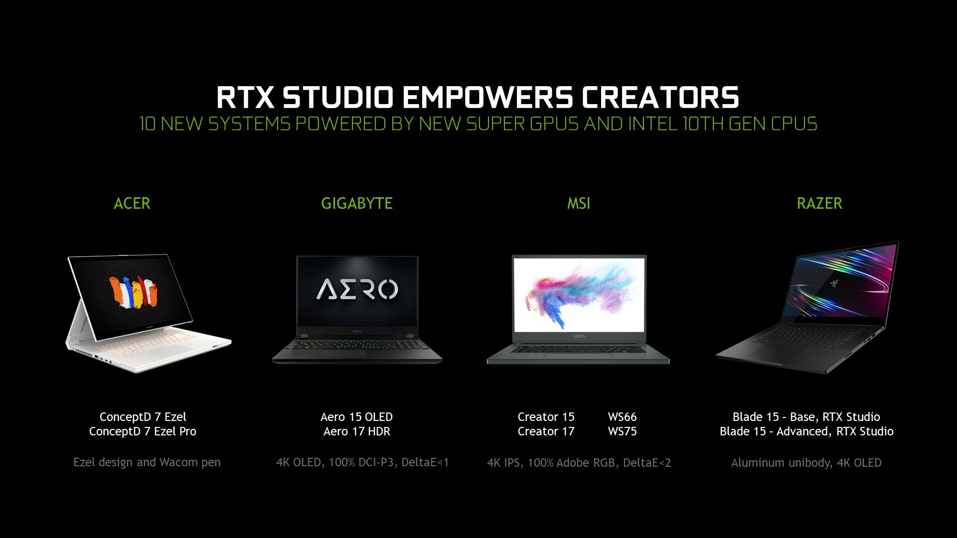 Ten new RTX Studio laptops for creative professionals