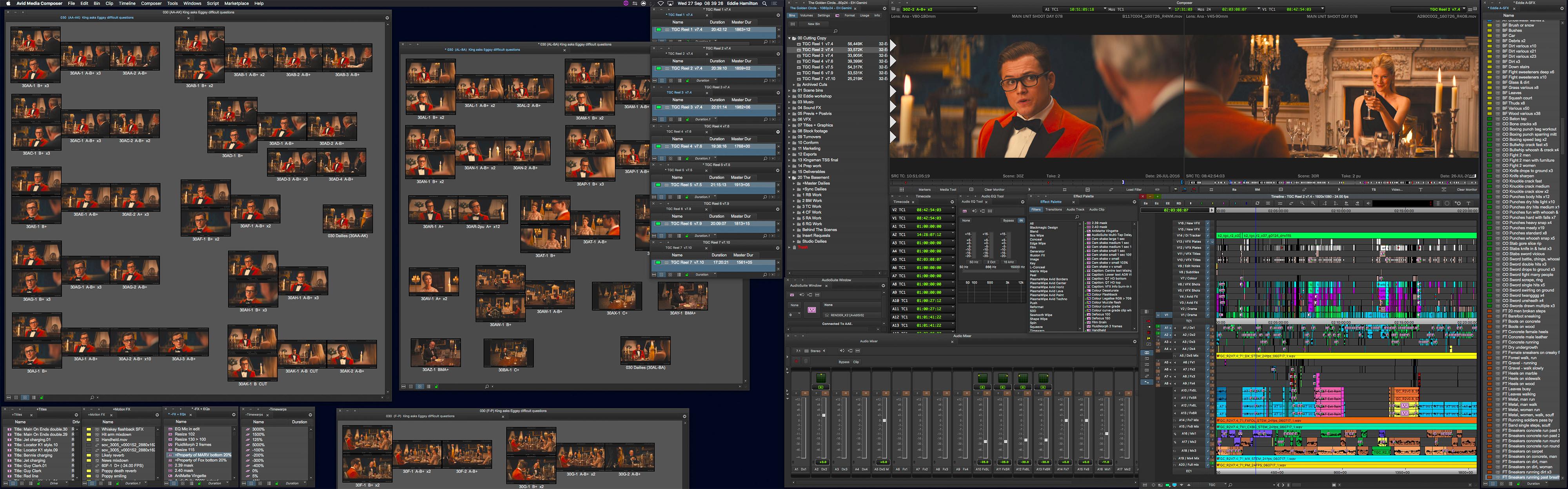 Avid Media Composer Kingsman timeline