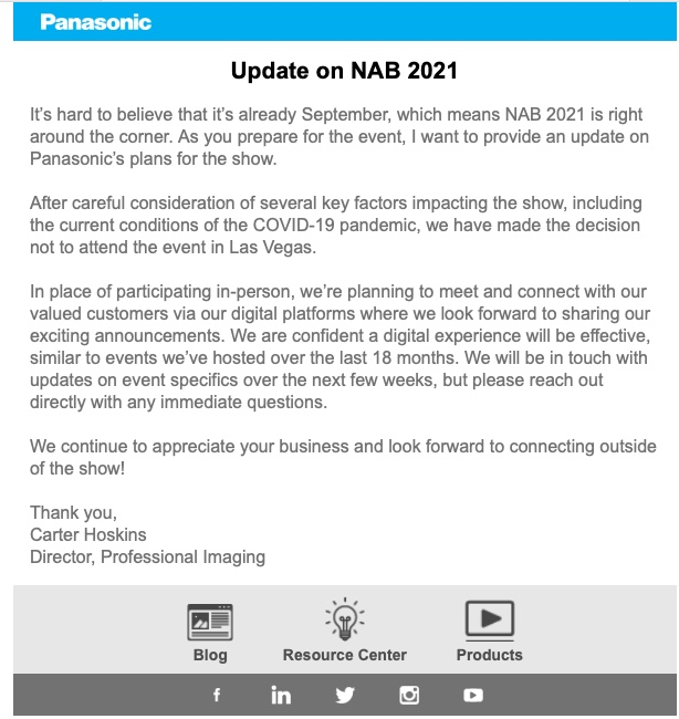 NAB Show exhibitors continue dropping like flies, Blackmagic too. Should the show go on? 6