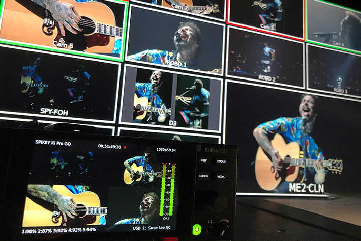 Post Malone concert tour recorded using Ki Pro GO and other AJA gear