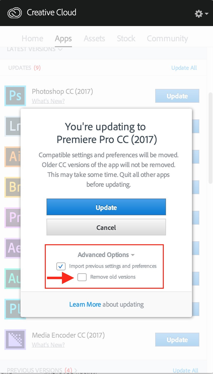 I always leave the old version of PPro behind. Old versions of the app can't open new projects.