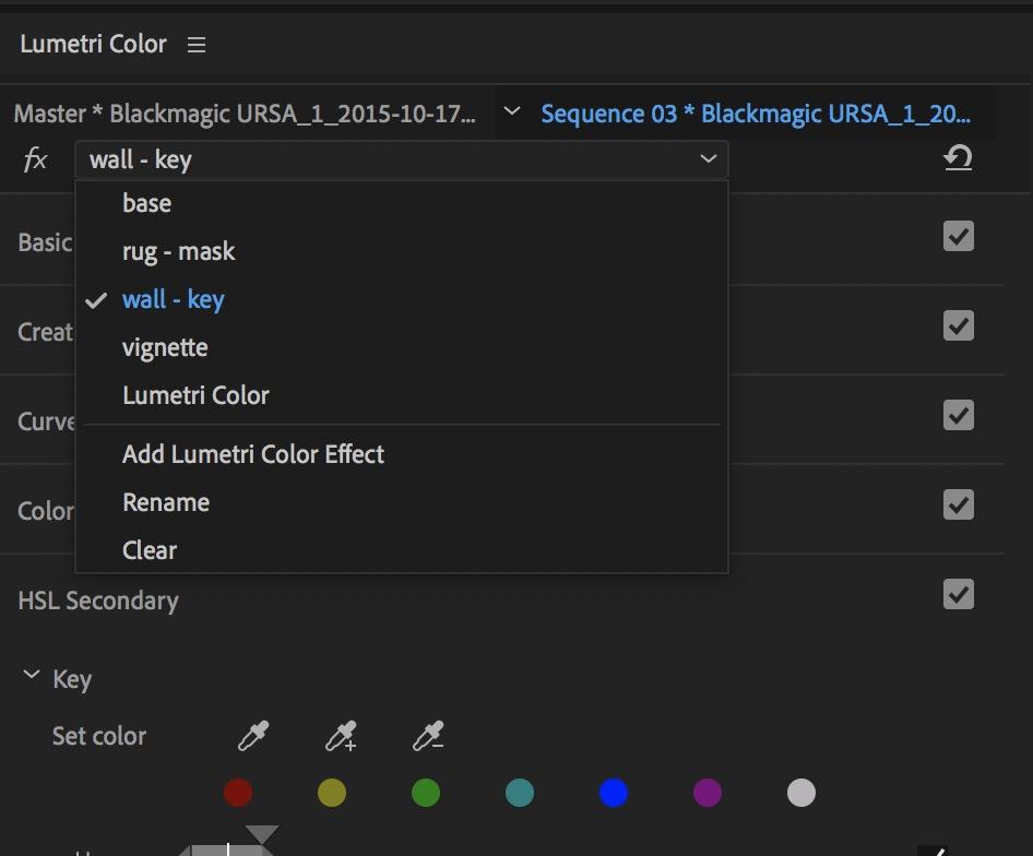 Adobe Premiere Pro Fall 2018 release Lumetri stack