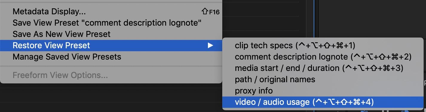 Adobe Premiere Pro view menu shortcuts