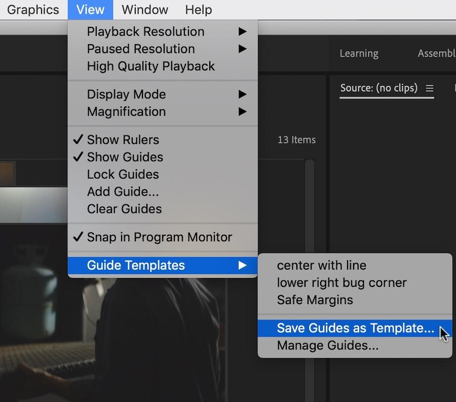 Adobe Premiere view menu