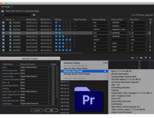 Download my free set of Adobe Premiere Pro Project View Presets 44