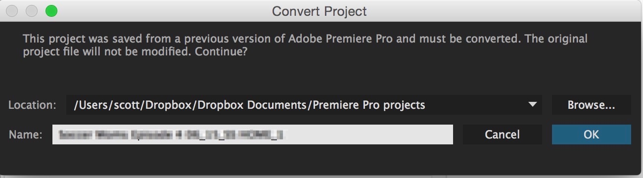 When updating a project from an older version Premiere will make you save a new version of the project.