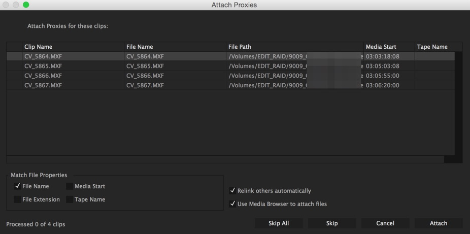 Attaching proxies via the dialog box is a bit different than Link Media. There are a few less options but it can still attach more than one at a time as long as the file names are proper and there are matching proxies for each full rez file.