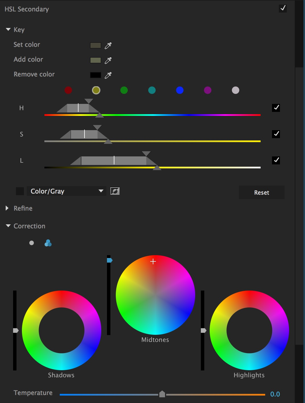 Secondary color correction is added with a number of familiar controls.