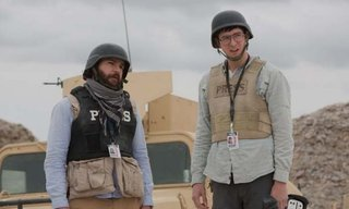Left to right: Christopher Abbott plays Fahim Ahmadzai and Nicholas Braun plays Tall Brian in Whiskey Tango Foxtrot from Paramount Pictures and Broadway Video/Little Stranger Productions.