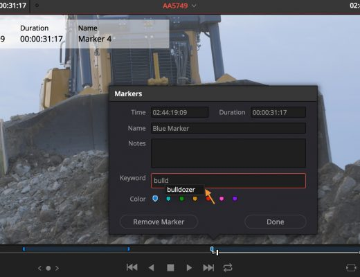 DaVinci Resolve marker keywords added