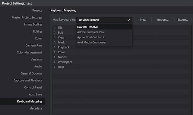 resolve12 keyboard settings