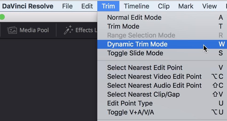 DaVinci Resolve dynamic trim mode