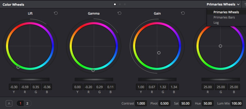 Depending on what controls you have active in the Resolve Color space the Ripple will operate them. The B button bypasses the grade.