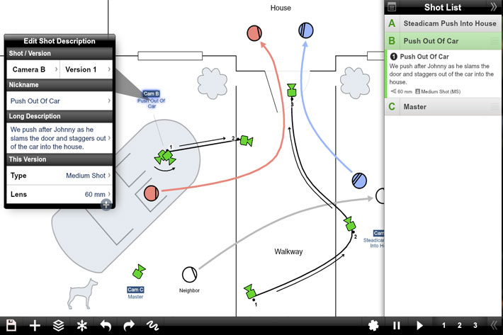Shot Designer, the scene planning tool for iOS, Android, Mac and PC