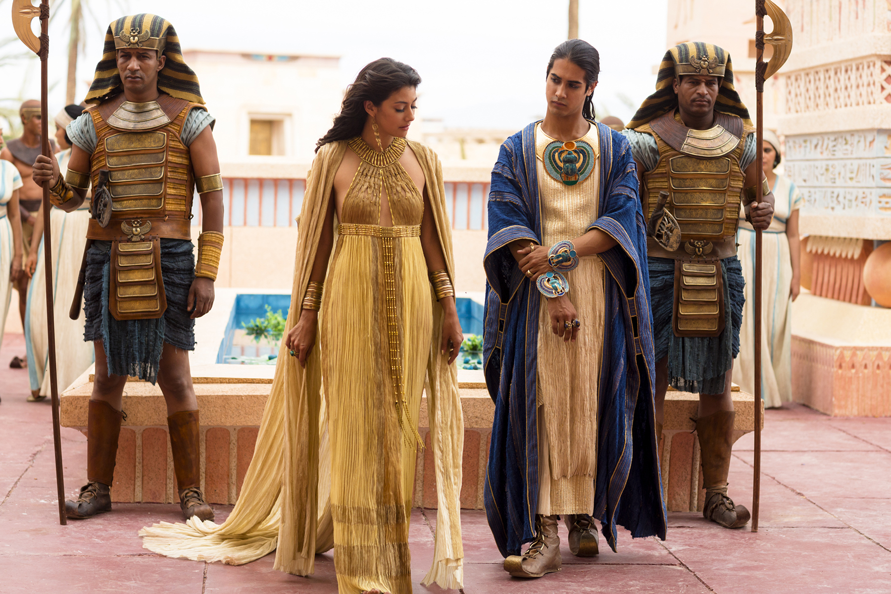 smaller Queen Anhe King Tut discuss royal mattersFrom left to right Sibylla Dean Avan Jogia