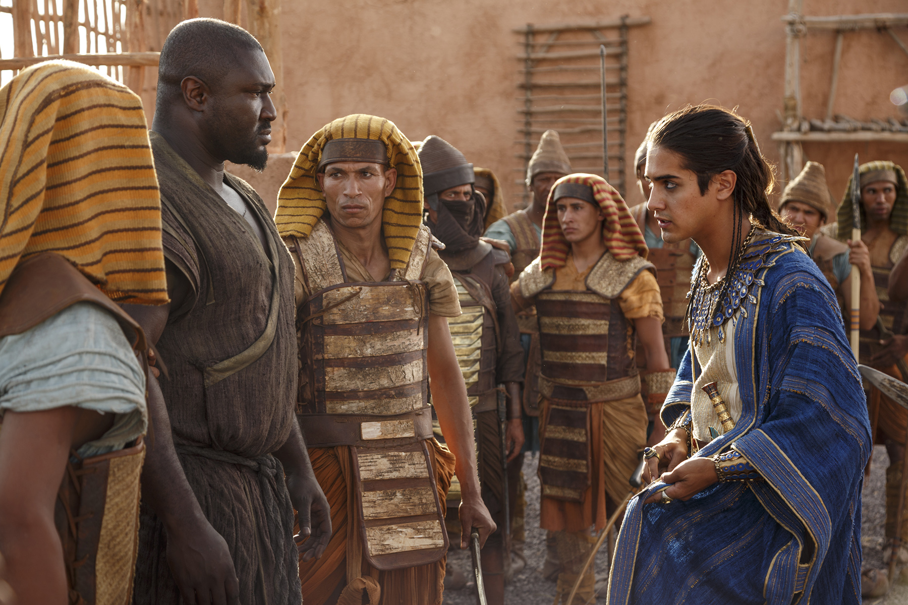 smaller Tut Avan Jogia confronts General Horemheb Nonso Anozie