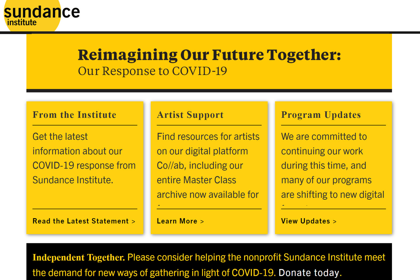 Sundance Institute: $1 million in emergency relief for artists and organizations