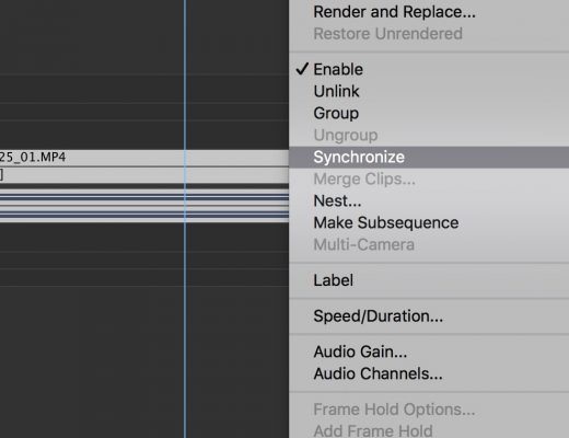 Using 'Synchronize' in Premiere Pro 15