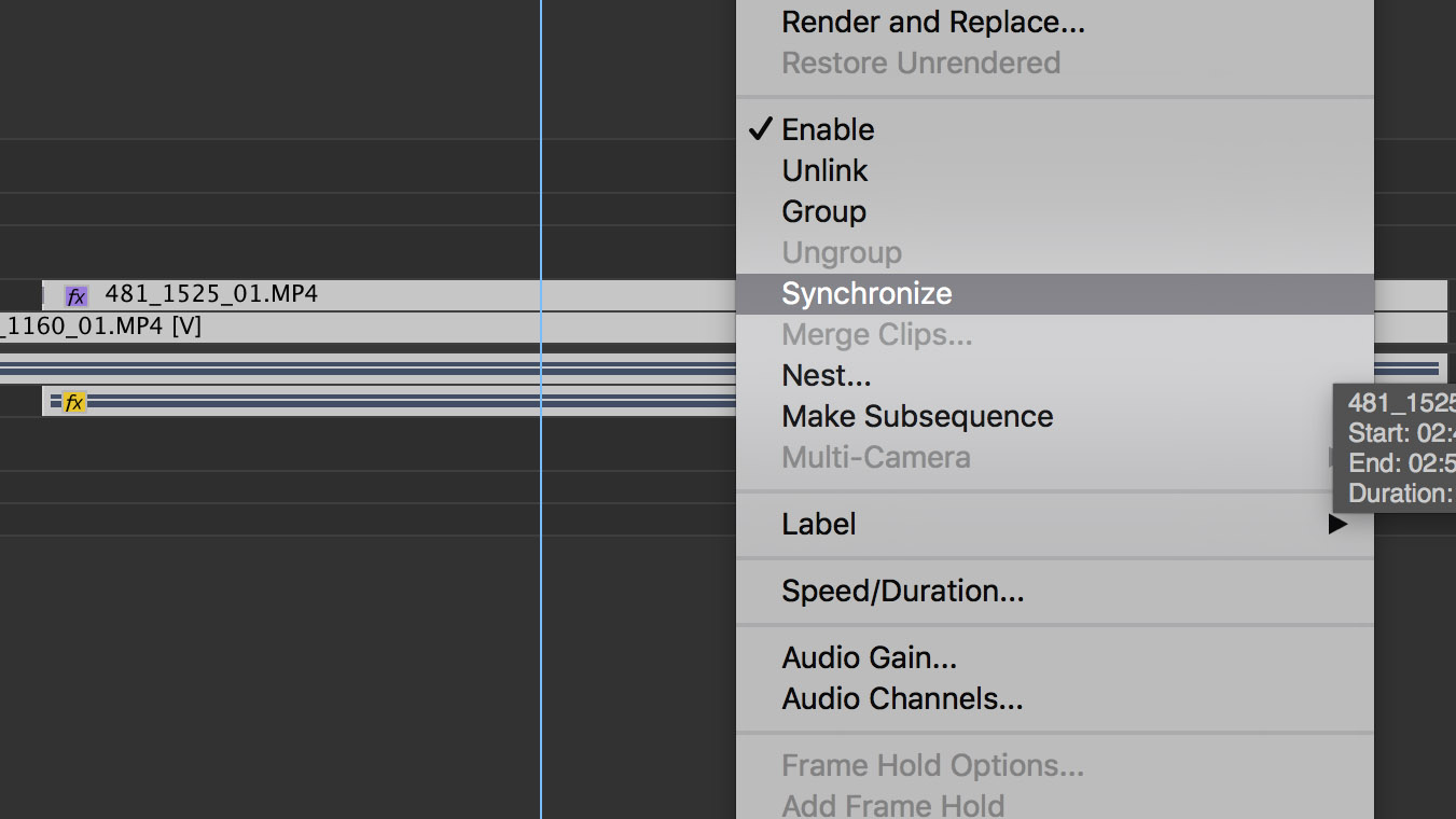 Using 'Synchronize' in Premiere Pro 6