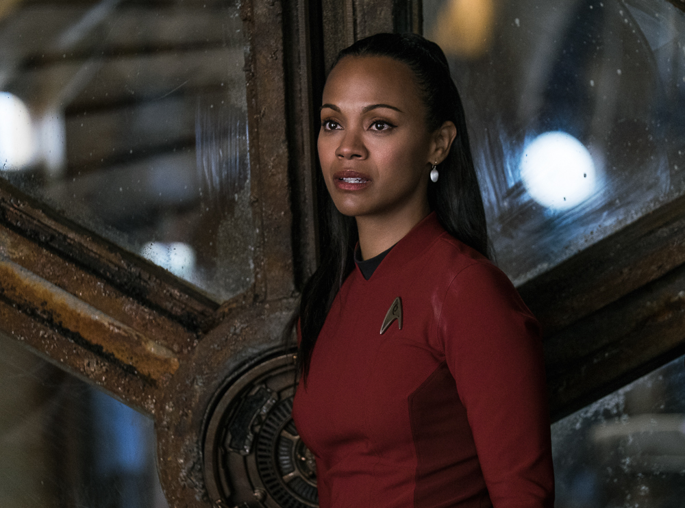 Zoe Saldana plays Uhura in Star Trek Beyond from Paramount Pictures, Skydance, Bad Robot, Sneaky Shark and Perfect Storm Entertainment