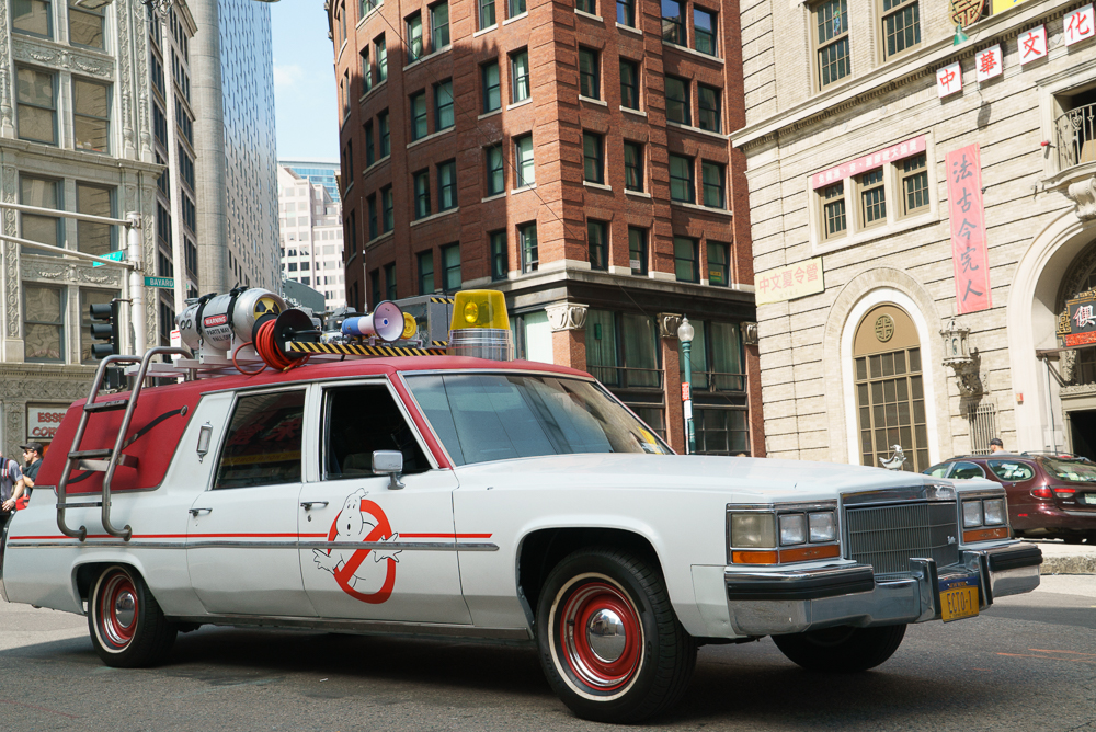 The Ecto-1 in Columbia Pictures' GHOSTBUSTERS.