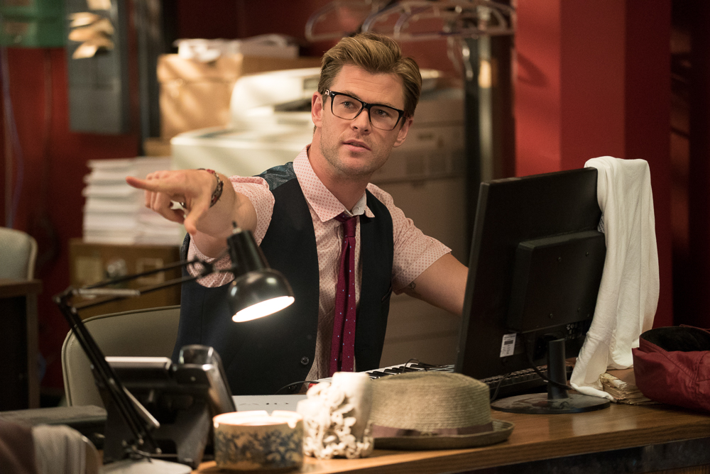 The Ghostbusters new receptionist Kevin (Chris Hemsworth) in Columbia Pictures' GHOSTBUSTERS