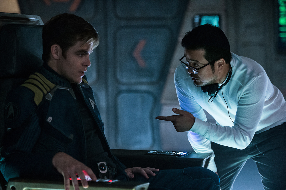 Left to right: Chris Pine and Director Justin Lin on the set of Star Trek Beyond from Paramount Pictures, Skydance, Bad Robot, Sneaky Shark and Perfect Storm Entertainment