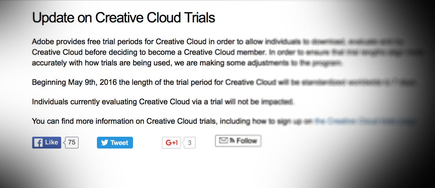 Adobe drastically reduces the trial period of the Creative