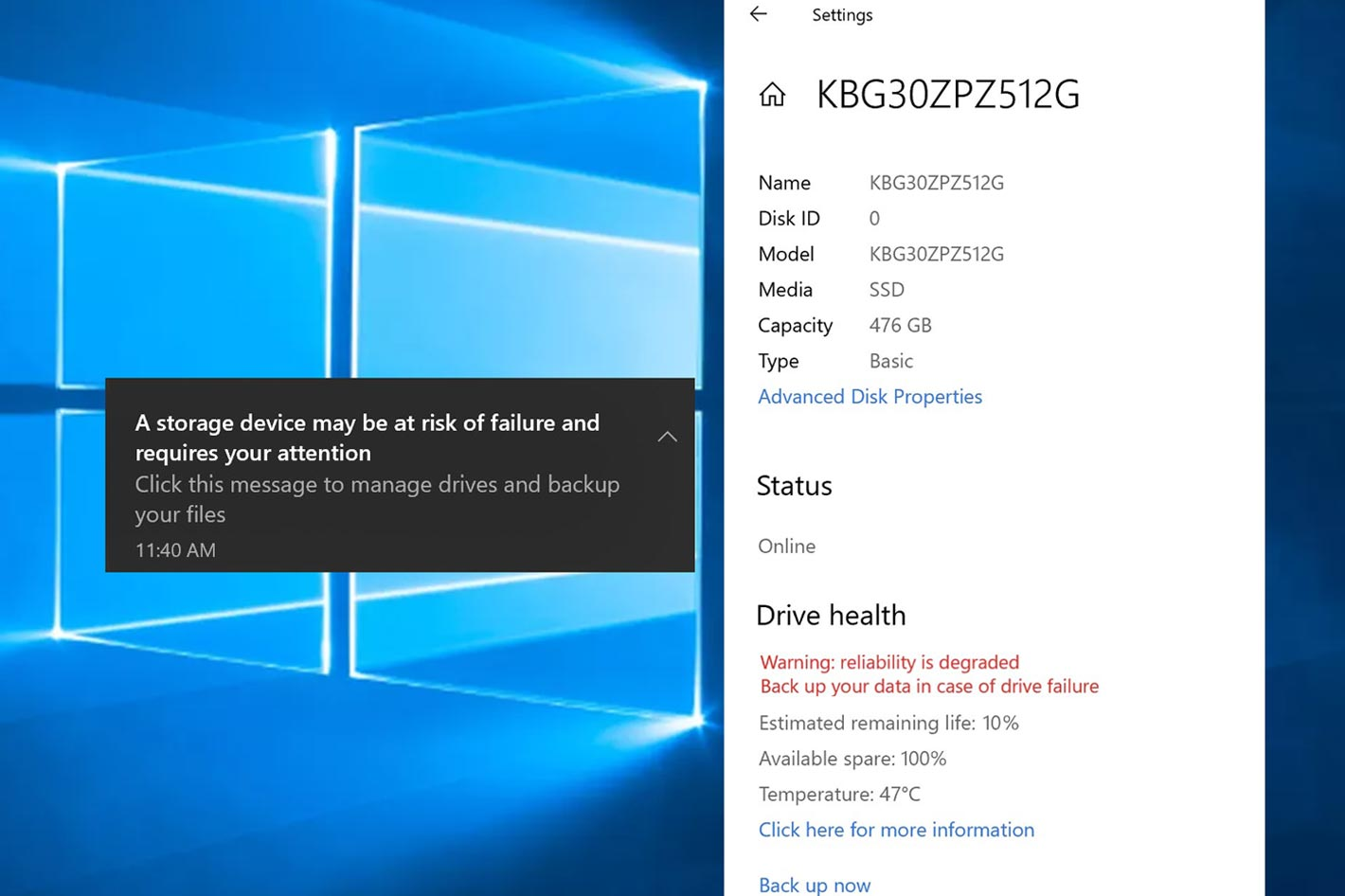 Windows 10 will monitor your NVMe SSDs health