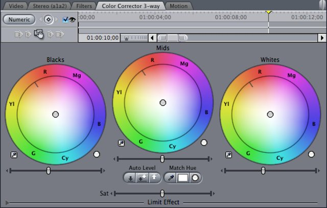 Final Cut Pro Classic's 3-way corrector
